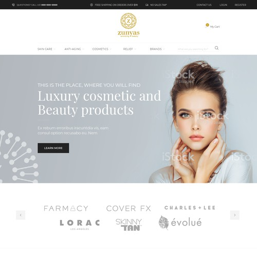 Homepage design for beauty product website