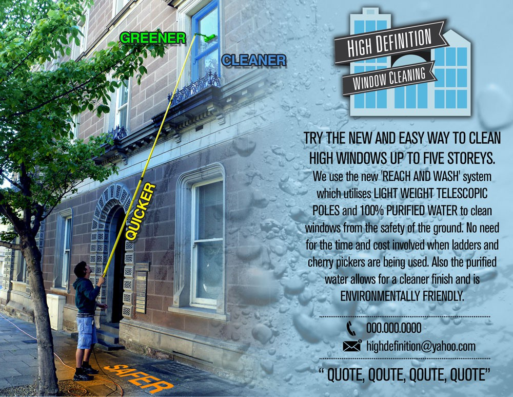 postcard or flyer for High Definition Window Cleaning
