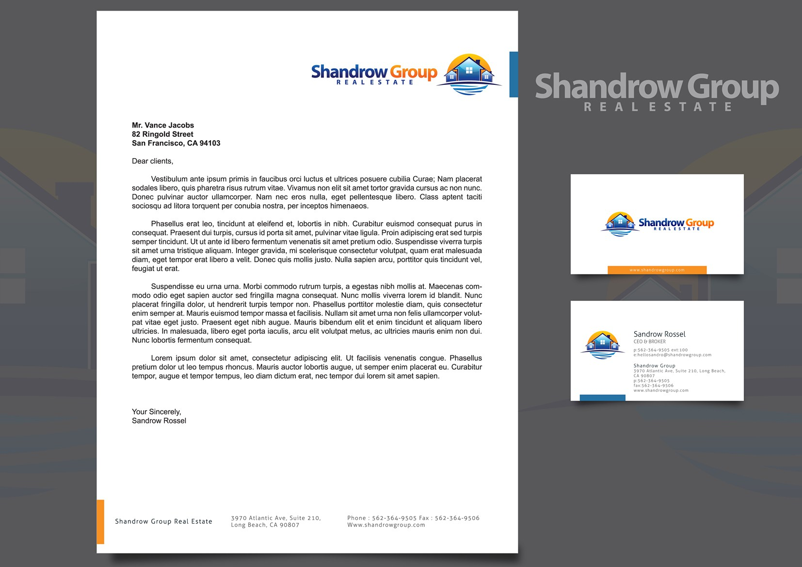 Shandrow Group needs business cards, return address label and letter head (logo already created)