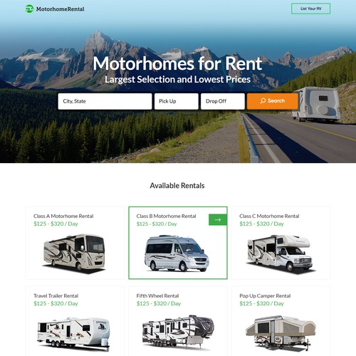Website Design for Motorhome Rentals Website