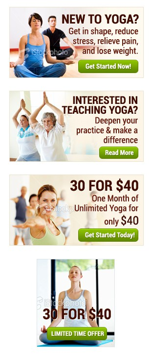 New banner ad wanted for Wilmington Yoga Center