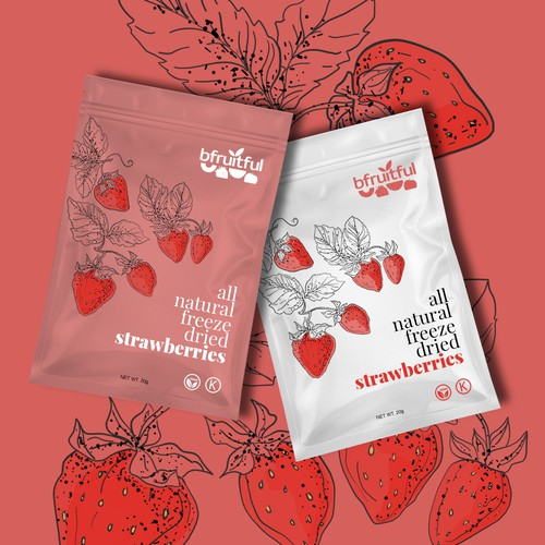 Illustrated packaging for natural freeze dried strawberries