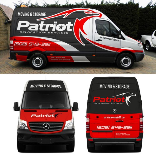 High-end moving company seeking mercedes van wrap design for Patriot relocation services.