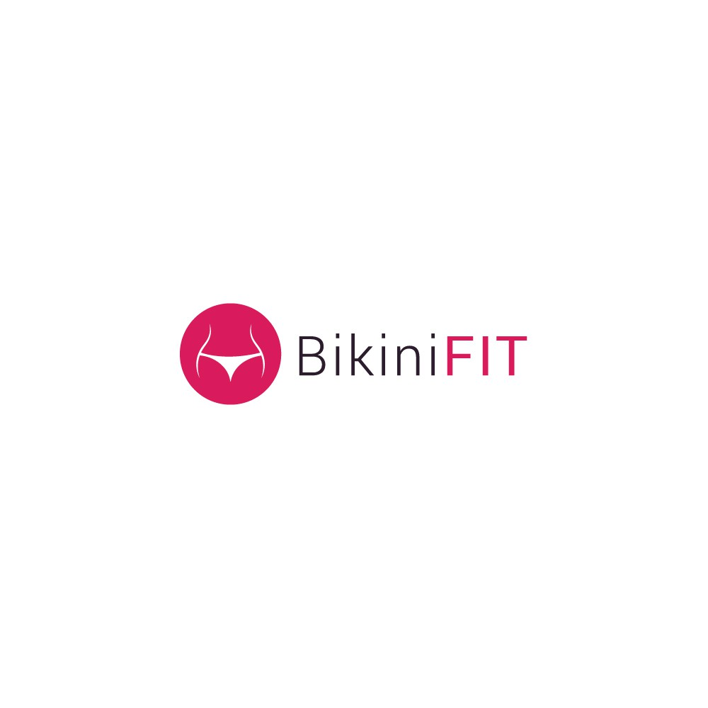 Design a logo for a workout routine named 'BikiniFIT' aimed towards girls.