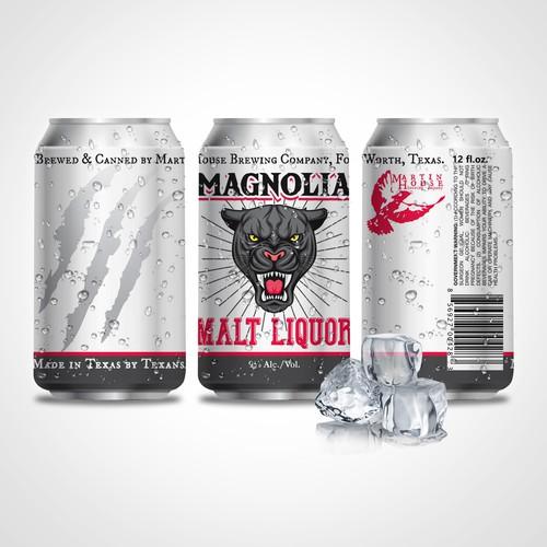Magnolia Malt Liquor can label design