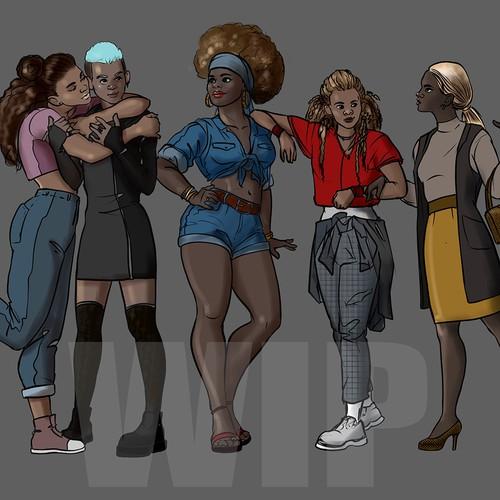 Illustration of Black Female Group of Friends