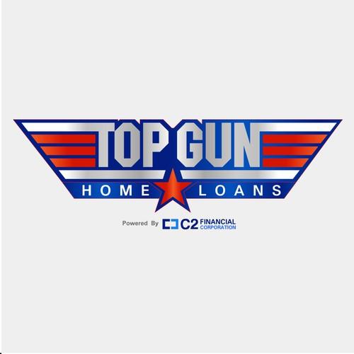 Top Gun Logo Bordered red