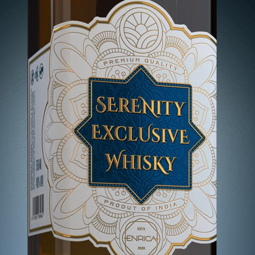 """Logo, Label and Packaging for """"Serenity"""" Exclusive Whisky"""