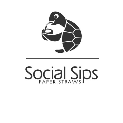 Logo for paper straws that respect the environment and ecology of the sea