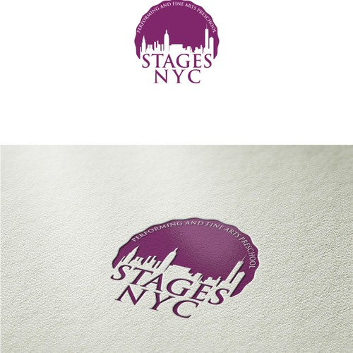 Create a sophisticated urban logo for a fine and performing arts preschool opening in NYC