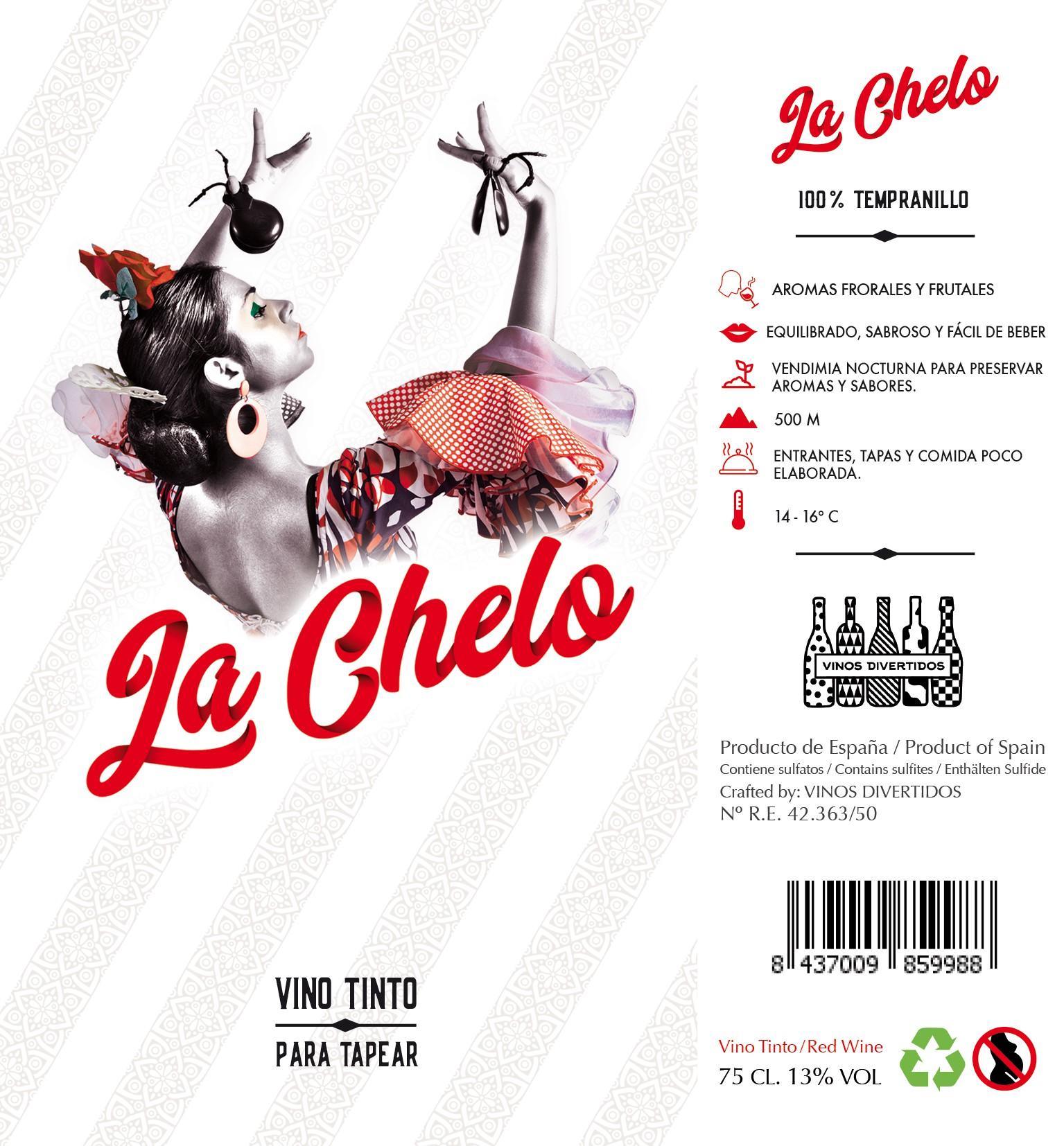 "Spanish wine needs label redesign: ""La Chelo"" +illustration +feminine +flamenco"