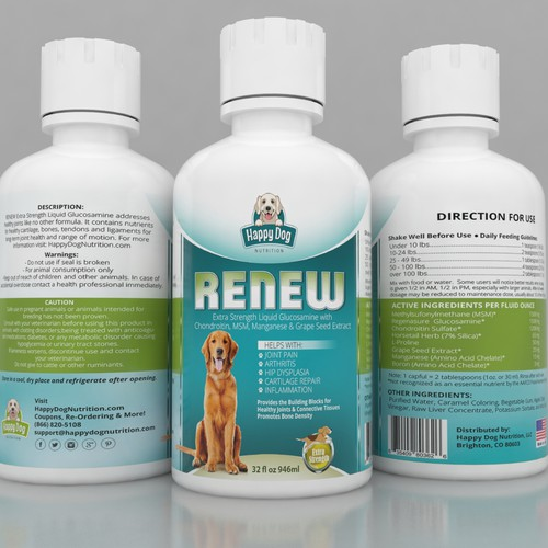 Label design for liquid pet supplement