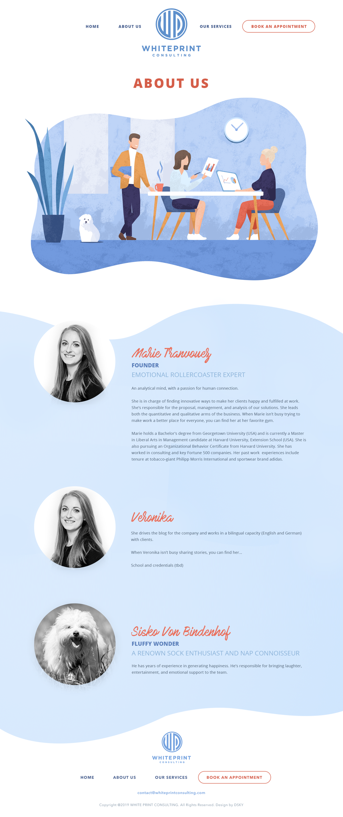 About us page design for a consulting company