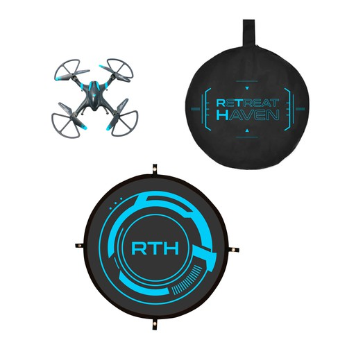 futuristic drone landing pad packaging