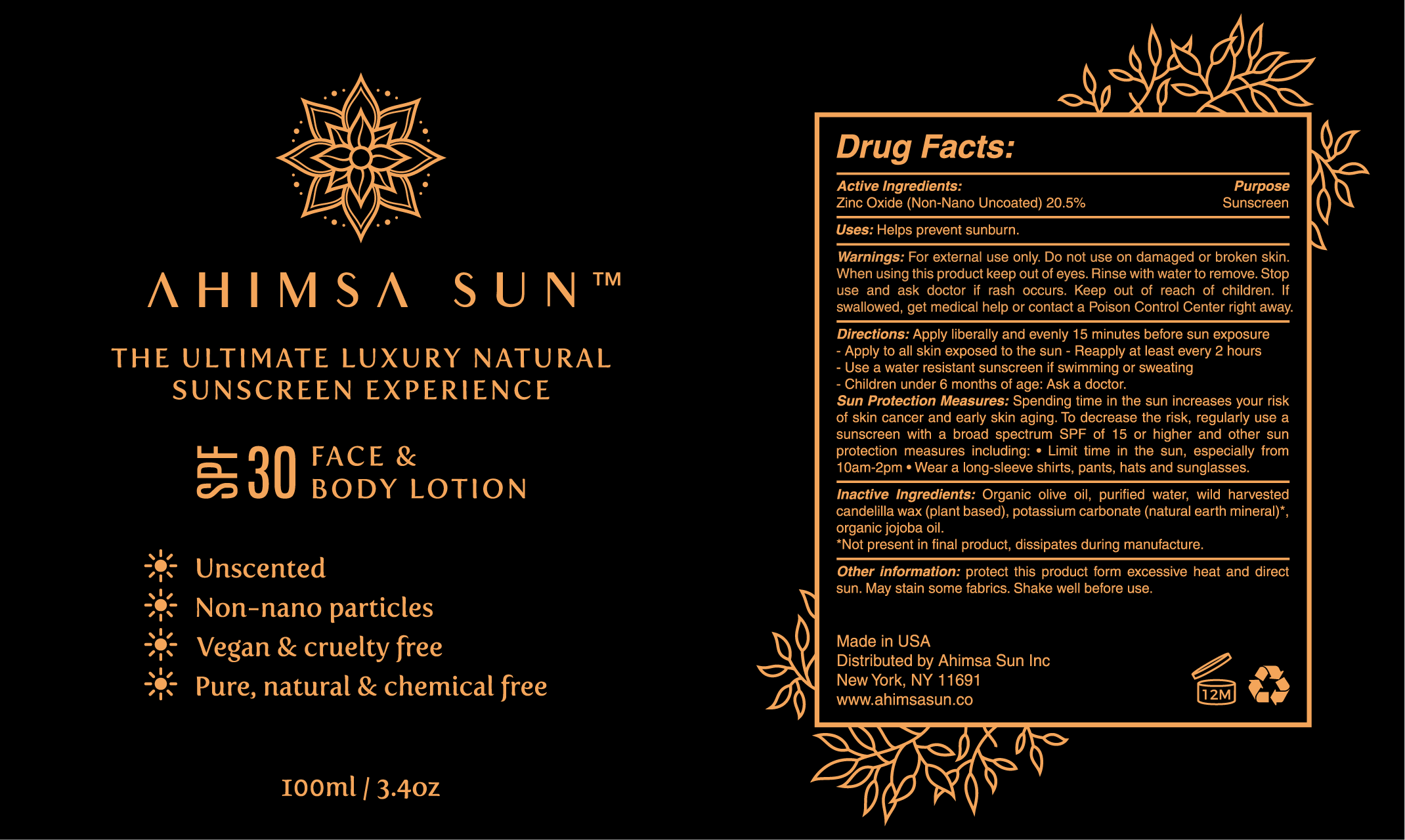 Label Design for Ahimsa Sun
