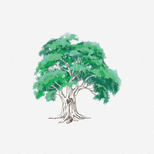 Emotionally evocative illustration of Oak Tree that starts the healing process
