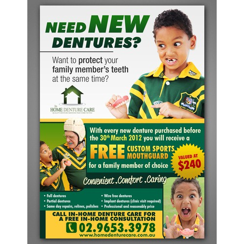 Create a 'special offer' brochure for In-Home Denture Care
