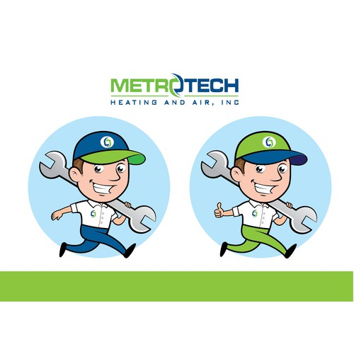 Create a mascot illustration for METROTECH Heating and Air