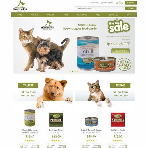Homepage Design for Ecommerce Business - Pet Products Store