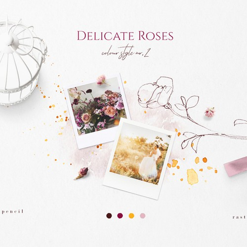 Rose Sketches & Watercolor Clipart Color Palette