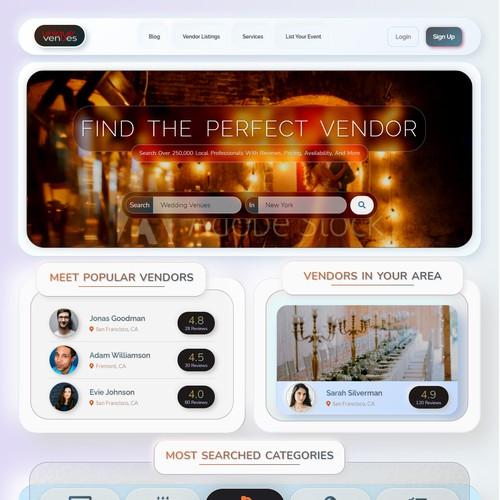 Neumorphic Home page for vendor website