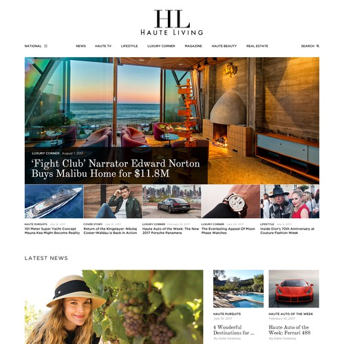 Modern website design for Haute Living