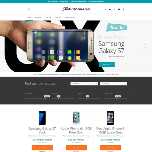 Redesign for a mobile phone comparison website