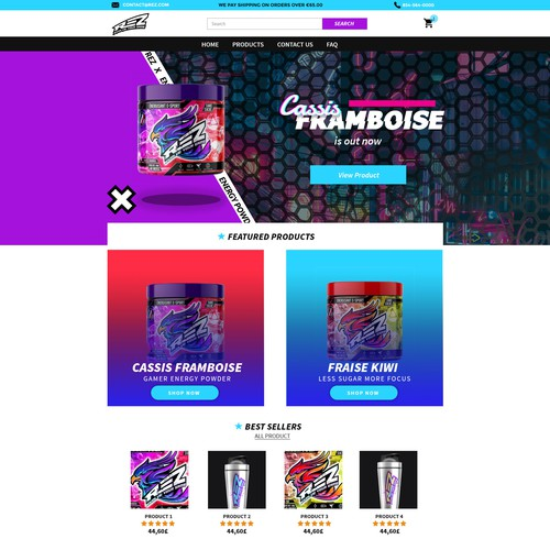 Shopify Theme design for Esport Gamer Energy Powdere