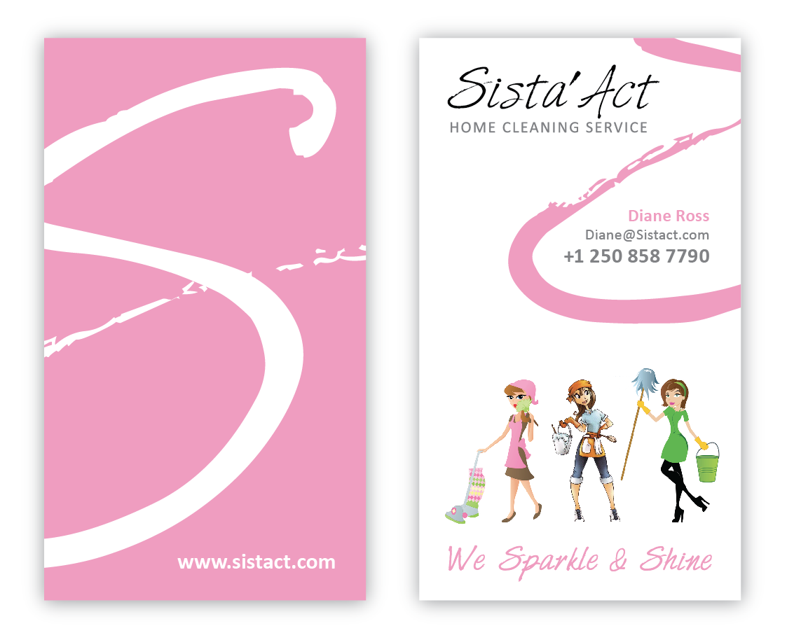 Create a unique business card for 3 sisters cleaning service