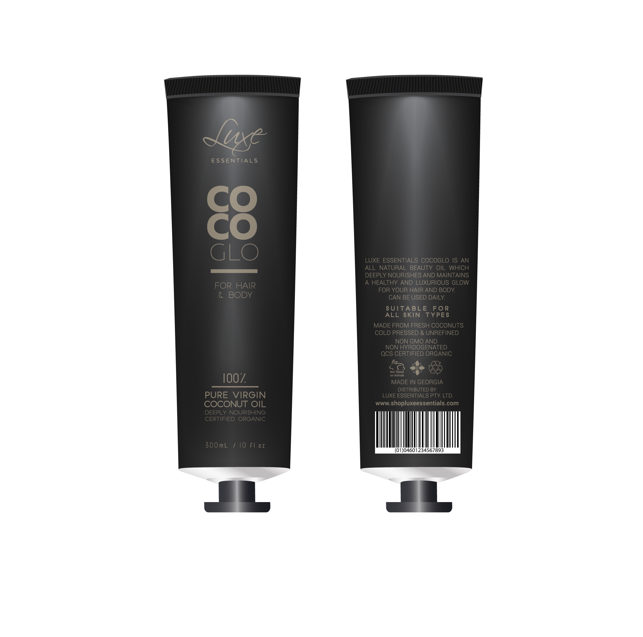 Create a simple chic, organic/natural beauty product label, designed for direct print on a tube