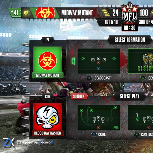 HUD Design for Mutant Football League Videogame