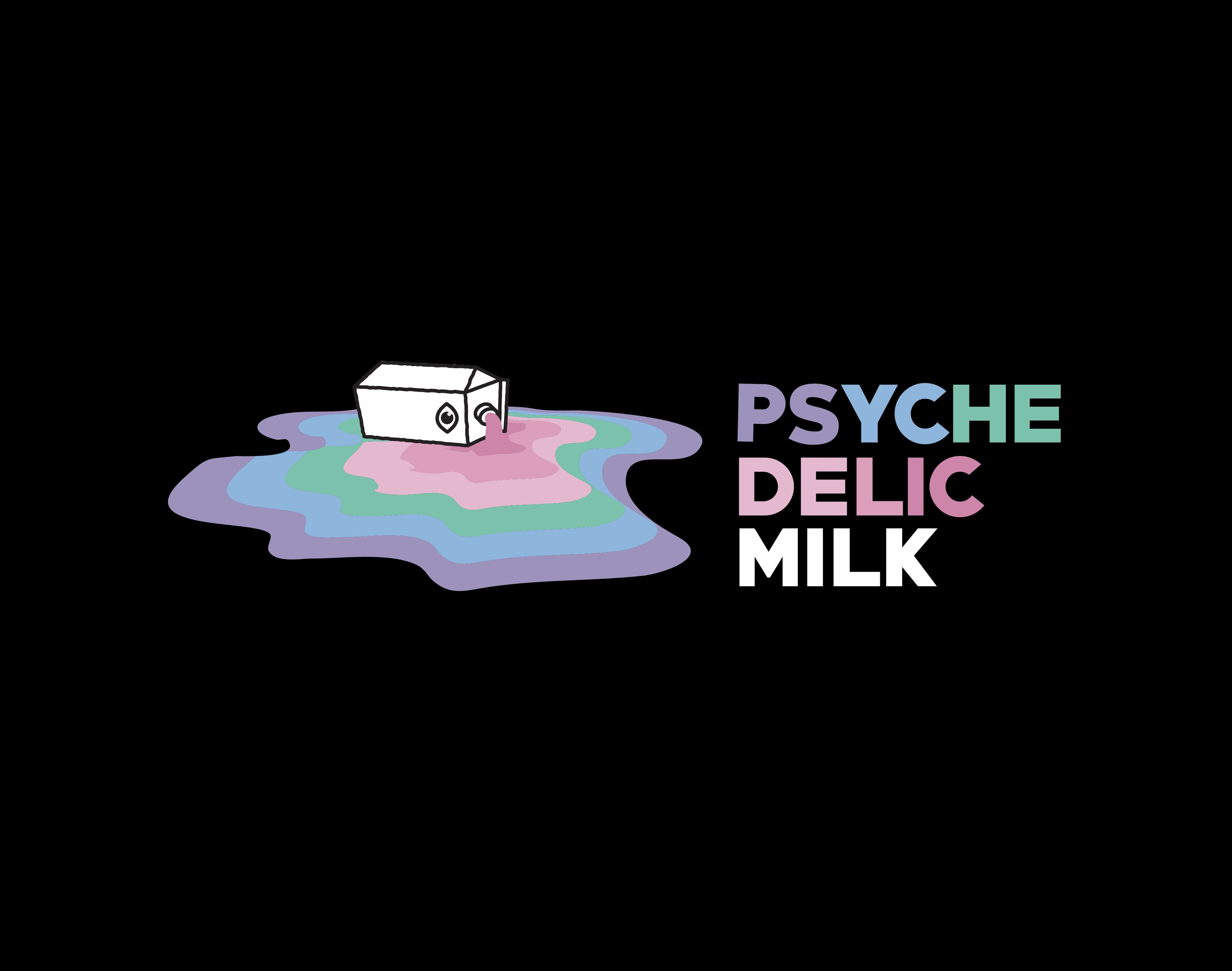 mix of modern/geometric/psychedelic logo for Psychedelic Milk