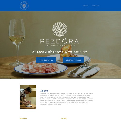 Squarespace website design for restaurant in New York City