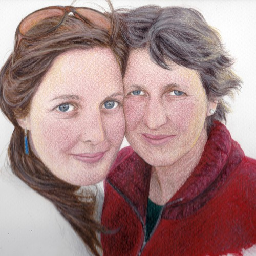 Pencil drawing of mother and daughter