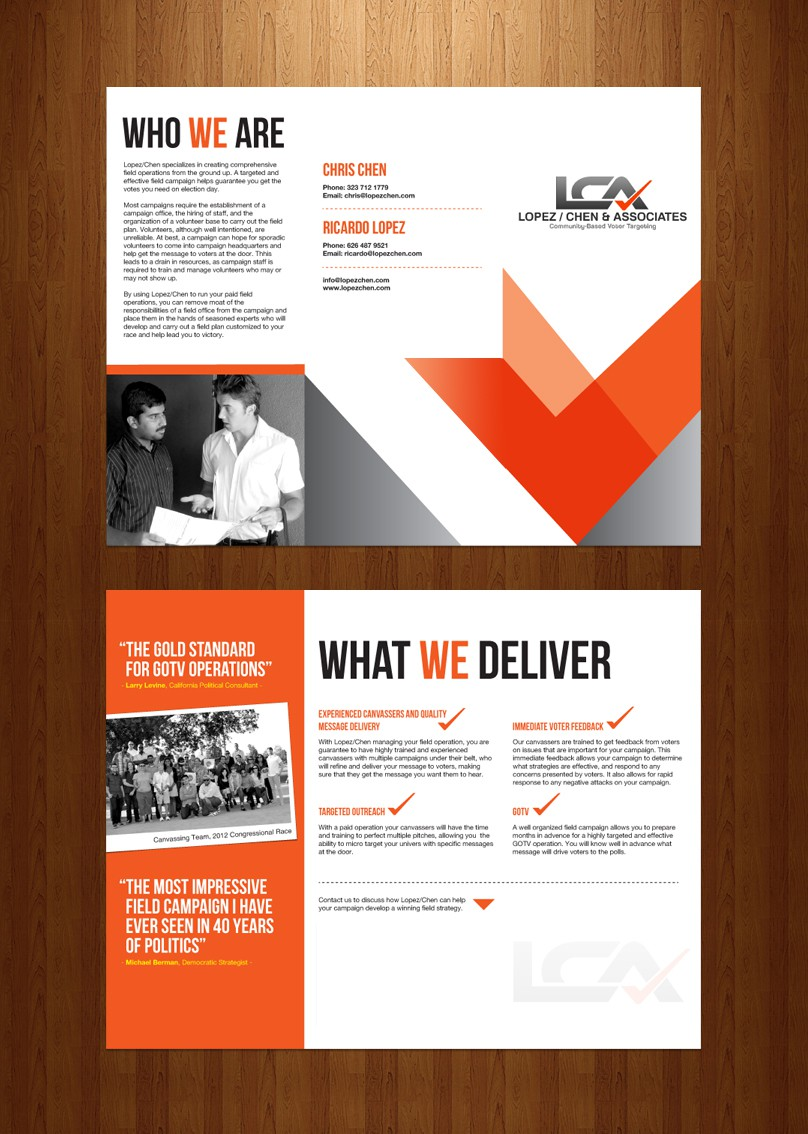 Create the next brochure design for Lopez/Chen & Associates