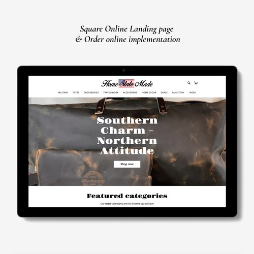 Square online store for Leather goods boutique.