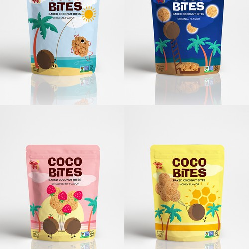 Create a fun design for Coconut Snack Packaging!