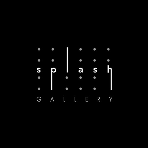 Logo for online gallery specializing in splash painting, also called drip painting, action painting, or rhythm painting.