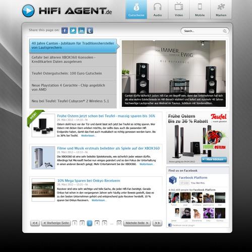 Website re-designfor Hifi-Agent (audio/video news)