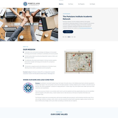 Homepage Design for Portulans Institute