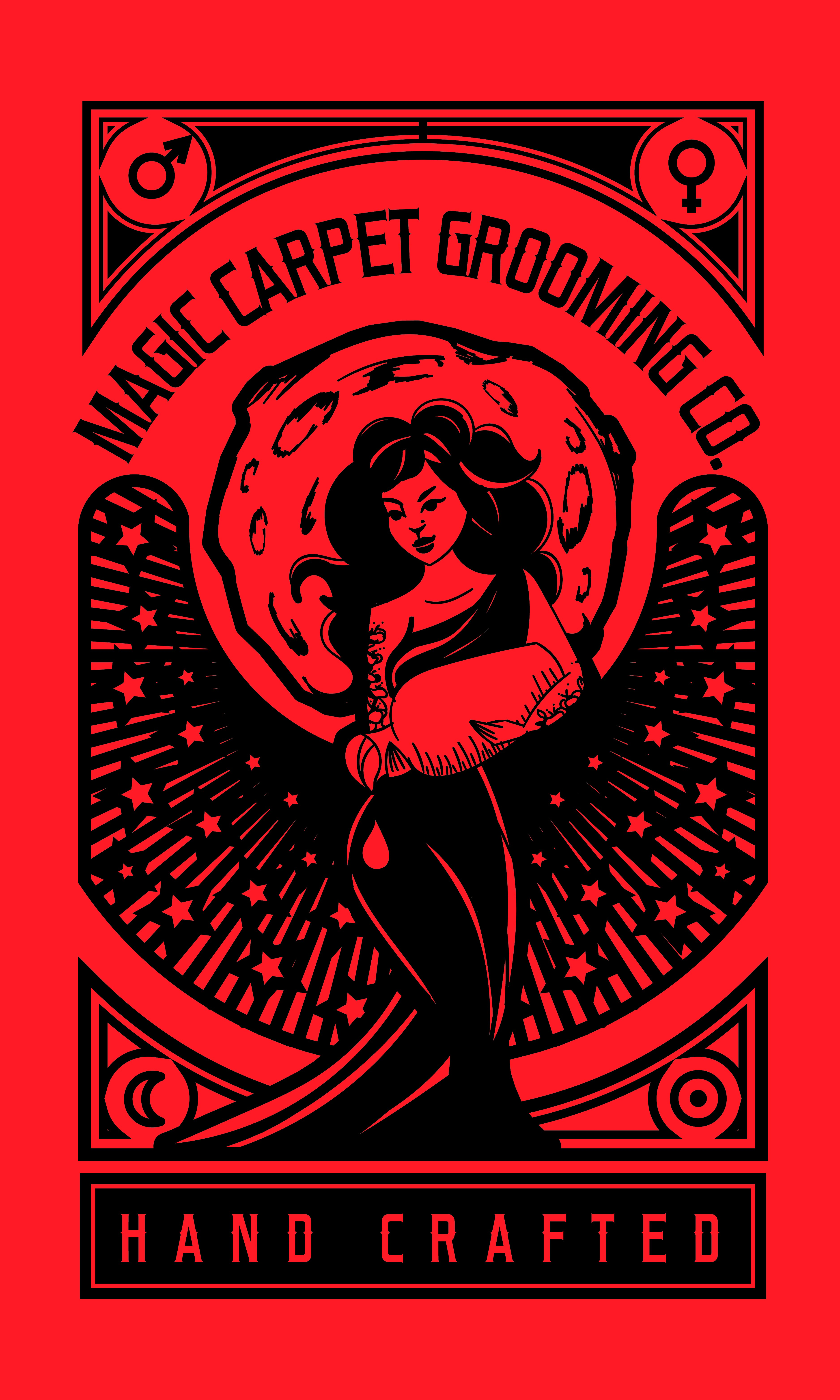 Create a mystical logo and website for the PUBIC HAIR revolution. (Magic Carpet Grooming Co.)