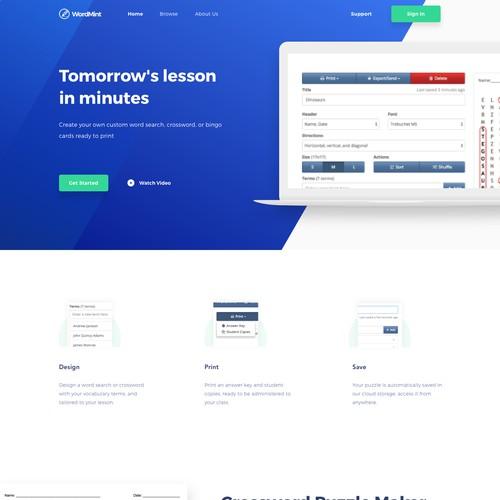 Homepage of Online Word Games