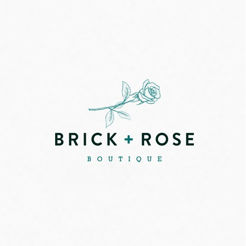 classic/trendy logo for Brick + Rose Boutique.