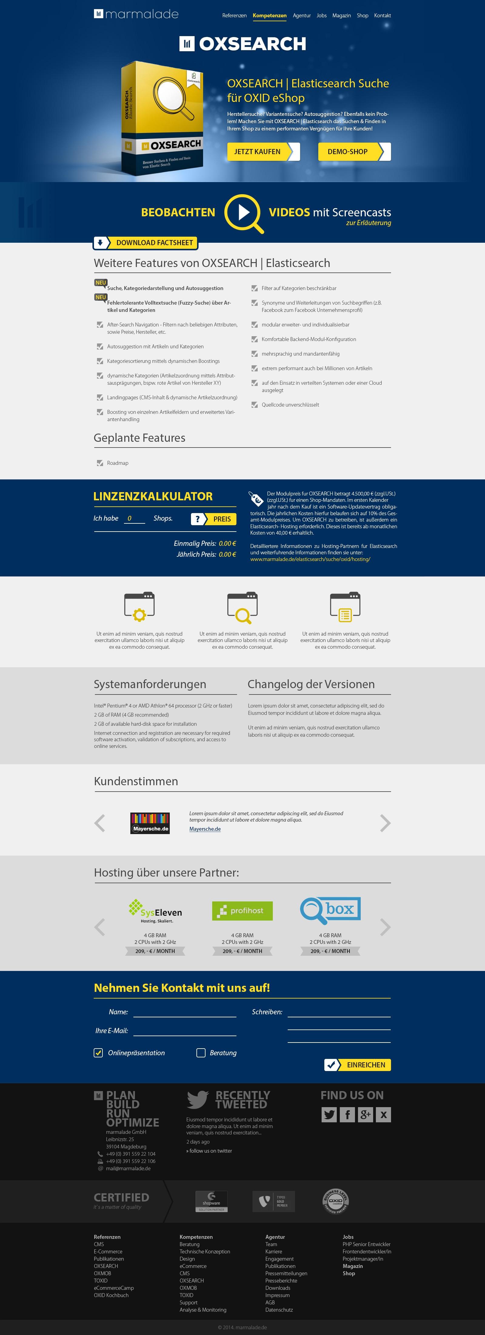 Landingpage für Softwareprodukt