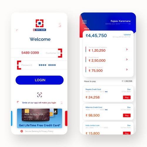 HDFC Bank iOS app concept