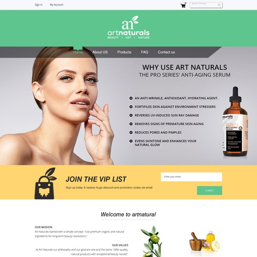 Homepage Design For an ecommerce site