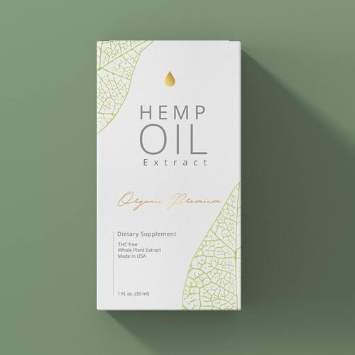 Feminine minimal box package hemp oil design