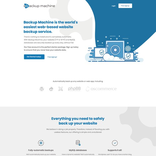 Design for a backup machine website contest