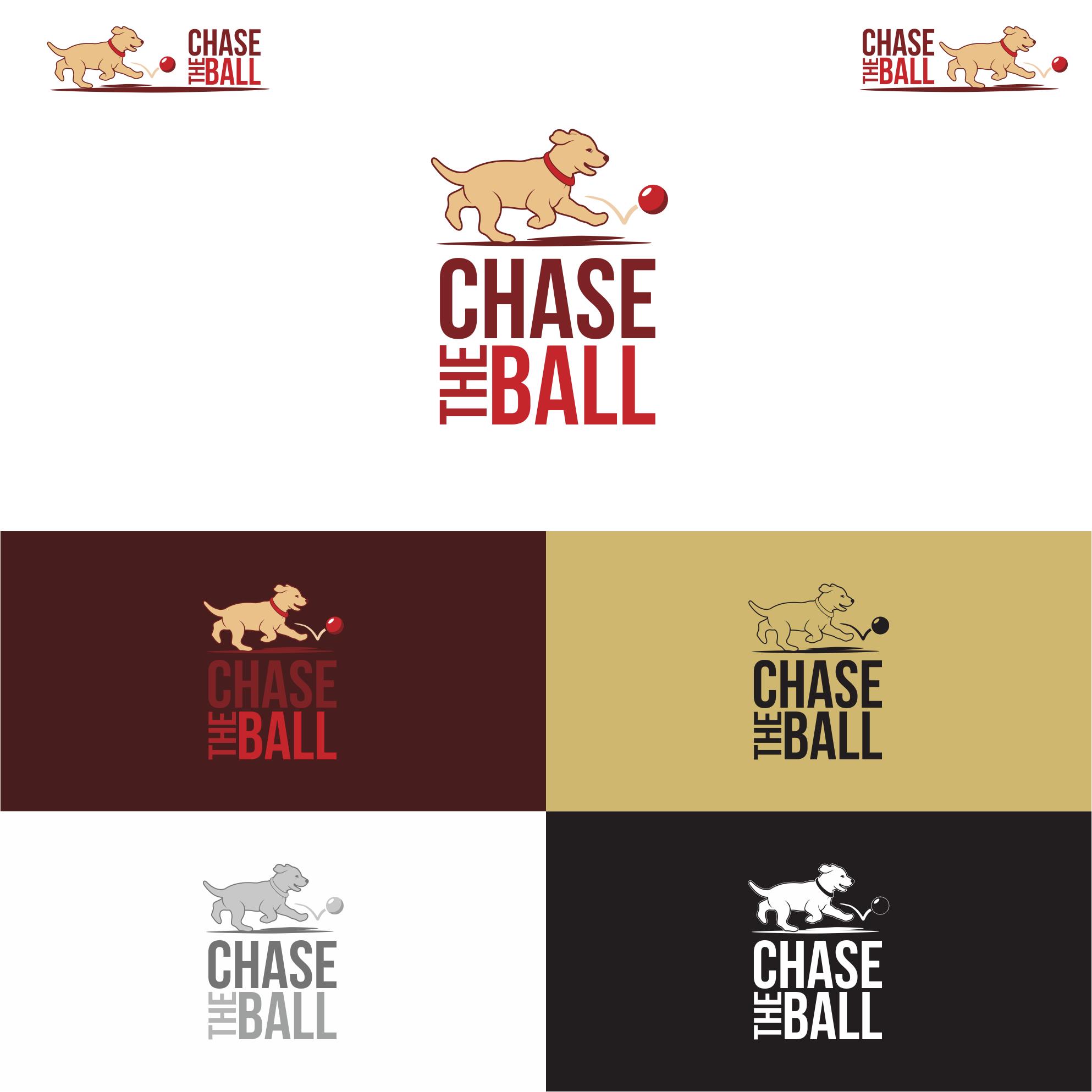 Create a playful golden retriever chasing a red ball