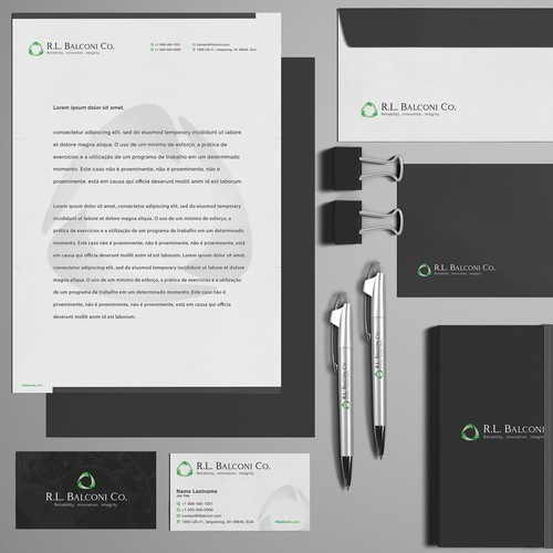 Logo design and stationery for R.L. Balconi Co.